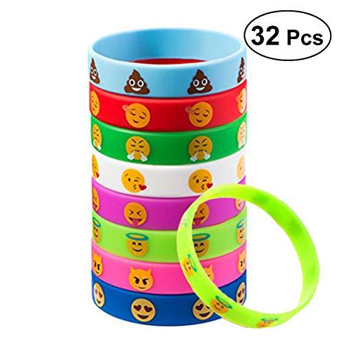 emoji armband TOYMYTOY 32 Stück Kinder Armbänder Silikon für Kinder Geburtstag Party Geschenk Mitgebsel