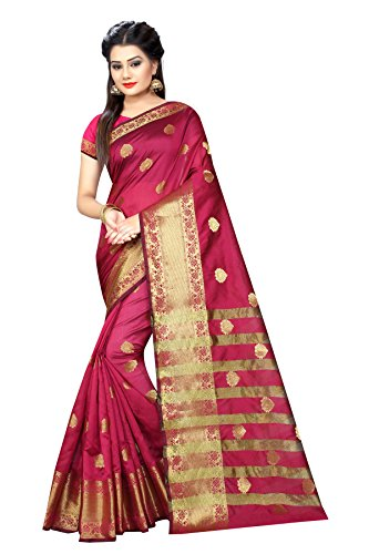 saree (Women's Clothing Saree For Women Latest Design Wear Sarees Collection in Poly Cotton Material Latest jacquard design Saree With Designer Blouse Free Size Beautiful Bollywood Saree For Women Party Wear Offer Designer Sarees With Blouse Piece)