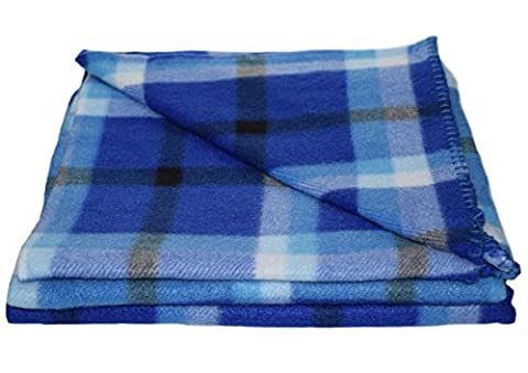 Checked Fleecy Pet Comforter Soft Polar Fleece Dog Cat Bedding Blanket 127cm x 152cm (Blue Check)