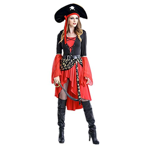 Anime Cosplay Weibliche Piratenkostüm Spiel Uniform Kostüme Thema Party Damen Halloween Kostüme,Red-L (Goldlöckchen Kostüm Damen)