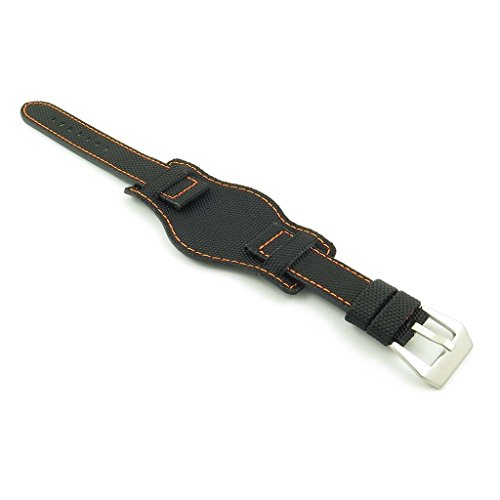 Dassari Trooper Black W/Cuciture arancio Kevlar nylon Bund Watch Band...