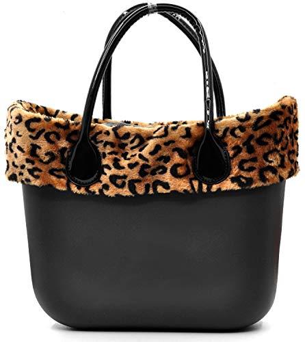 59101569b0 borsa bag spalla DONNA fantasia silicone manici sacca scocca completa  ricamati bordo pelliccia pelo smontabile (