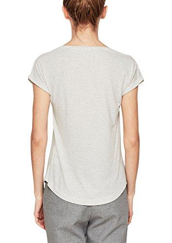 s.Oliver Damen T-Shirt Elfenbein (Creme Melange 02w0)