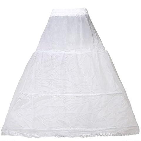 HIMRY® Reifrock Petticoat 3 Ring verstellbar, Underskirt Unterrock, One Size, für Gr. 36 bis Gr.50, Weiß, KXB-005-White-X