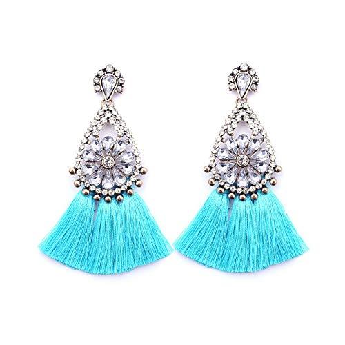OrecchiniABottoneOrecchiniPendentiLineaDell'Orecchio Stile Etnico Orecchini Nappa Europea E Americana Moda Orecchini Diamante Azzurro, Onorevoli Regalo di Compleanno