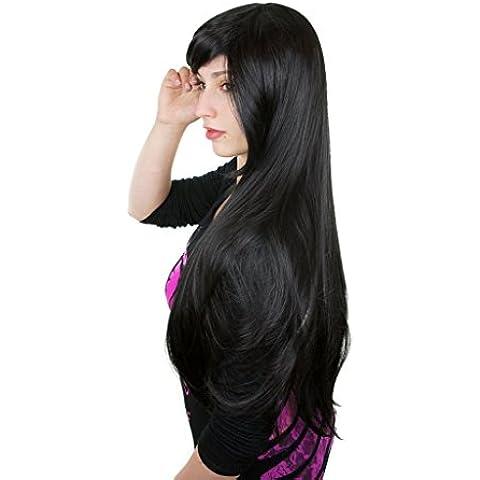 Cosplayland C332 - Peluca Lisa Muy Natural con Volumen para Teatro y Día o Noche, Color Negro, 80 cm