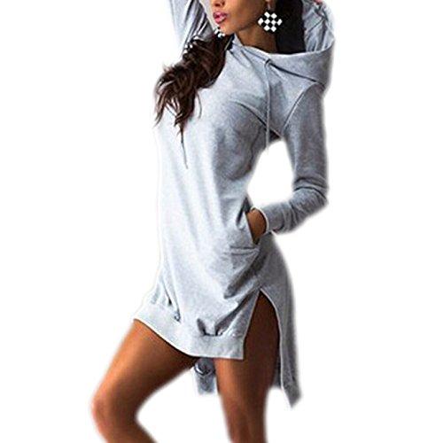 Sterben Kinder Hoodie (Fanmay Mode Frauen Irregular Mit Kapuze Lange Ärmel Kleid Hoodie Hoodies Vokuhila Minikleid (L, Grau))