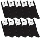Burnell & Son 10 Paar Business Socken für Damen & Herren, atmungsaktiv ohne drückende Naht in Schwarz, Größe 43-46