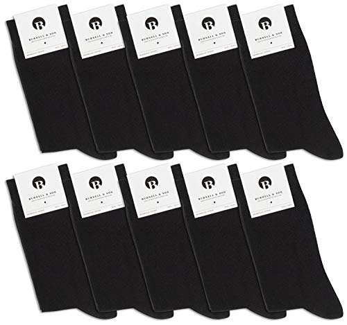 Burnell & Son 10 Paar Premium Socken aus fein gewobener Baumwolle | Damen & Herren | Business | verschiedene Farben | bequemer Komfortbund - Damen Wolle Anzug