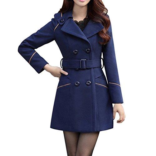 LAEMILIA Damen Winter Mantel Klassischen Doppelten Breasted Trenchcoat Warm Schlank Vintage Jacke Windmantel Outwear (Breasted Mantel)