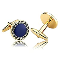 Beydodo Men's Bullet Back & Toggle Closure Cufflinks Stainless Steel (Shirt Accessories) Round Gold Blue