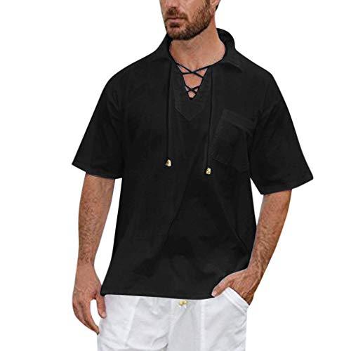 Zolimx Herren Freizeithemd Kurzarm Baumwolle Leinen Männer Sommer Hemd Casual Regular Fit Shirt Männer Baggy Solid Kurzarm V-Ausschnitt Kordelzug Retro Beach Yoga T Shirts Tops -