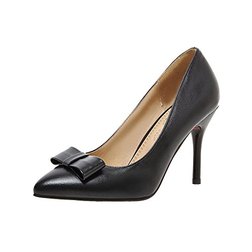 Guoar Stiletto Spitze Zehen Damenschuhe Rutsch Büro-Dame Pumps mit Bowknot Schwarz