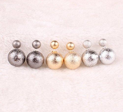 Vale® (1 Pair) Boucles d'oreilles Double Sided Matte Perle pour les femmes - Or