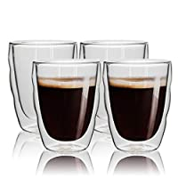 Double Wall Glass, Insulated Glass Coffee Mug, Espresso Cups,Tea Cups,Glass Cups,Coffee Glass,Latte Cups,Beverage Glasses,Crystal Clear Glass, 250ml / 8.5oz,Set of 4