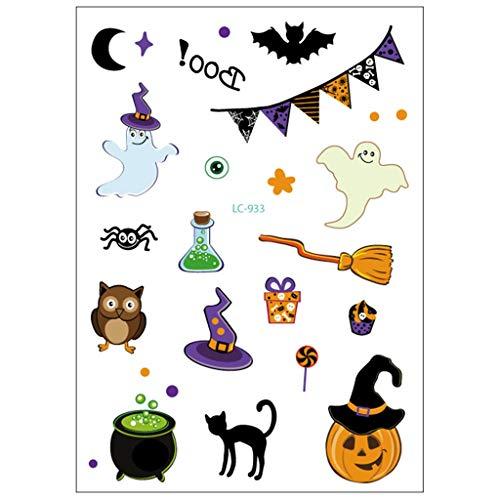 Aufkleber für Kinder und Erwachsene Halloween Kürbis Fledermaus Hexe temporäre Tattoo ()