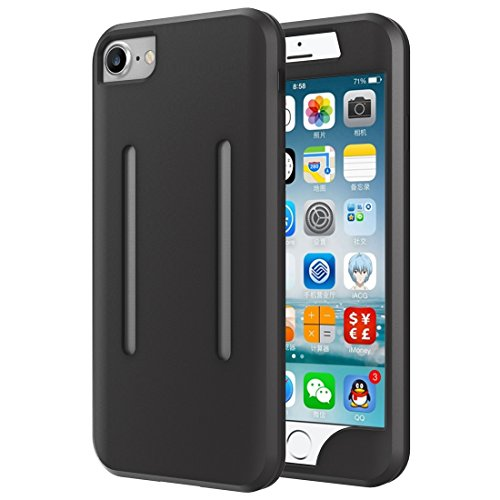 Mobiltelefonhülle - 2 in 1 für iPhone 7 Dual Control Sport Armband mit abnehmbarem Premium Silikon Case ( Farbe : Schwarz ) Schwarz