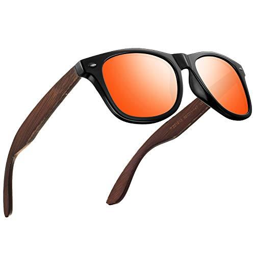 FEIDU Sonnenbrille herren holz Zwei Stile zur Auswahl - Polarisierte sonnenbrille holz Klassischer Stil Und Einfacher Stil Unisex FD 9003H (Orange-Klassischer, 50)
