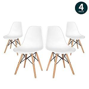 VADIM Esszimmerstuhl 4er Set in Weißen Retro Design Esszimmerstühle mit Massivholzbeinen, Moderner und Eleganter Kunsthof Eiffel Wohnzimmerstühle, Küchenstühle, Bürostühle, Holz, Weiß