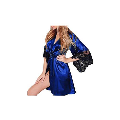 Zilosconcy Damen sexy Unterwäsche Frauen Sexy Silk Kimono Dressing Babydoll Dessous Gürtel Bademantel Nachtwäsche Wimpern-Spitzenkleid Hipsters in verschienen Farben Atmungsaktiver Komfort