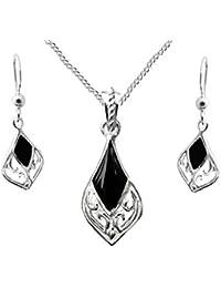 925Sterling Silber Echt Schwarz Onyx Tropfen Geschenk Set, Anhänger, Ohrringe, Kette, Geburtsstein Januar, in Geschenkverpackung