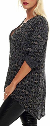 malito Camicetta con Animal-Print Safari 3/4 Tunica Top Longsleeve Oversize 6702 Donna Taglia Unica Grigio scuro