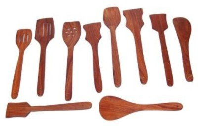 Onlineshoppee Premium Wooden Spoon Set 1 Frying, 2 Serving, 2 Spatula, 3 Chapati Spoon, 2 Desert  available at amazon for Rs.349