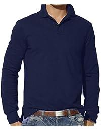 BUSIM-Men Long Sleeve Shirt Fashion Solid Color Lapel Casual Slim Antique T-Shirt Top Plain Polo Shirt Hot For...