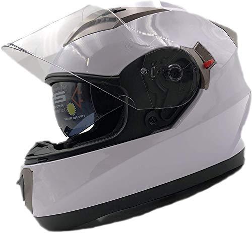 nat hut casco moto integral ece homologado. casco scooter para hombre y mujer. casco unisex blanco de motocicleta para adultos con doble visera anti-rasguños y protección rayos uv (m 56-58cm, blanco)