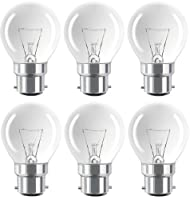 Eveready 6 Pack Classic Mini Globes 40W, BC B22 B22d, Clear Round Light Bulbs, Bayonet Cap, Golf Ball Incandescent Dimmable P45 Lamps, Mains 230V-240V from Eveready