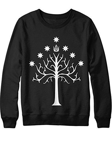Sweatshirt Rings Gondor Tree H123142 Schwarz M (Frodo Und Sam Kostüm)