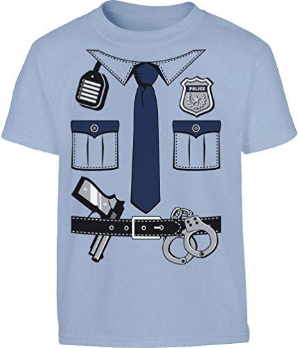 Kids Polizei Kostüm Uniform Verkleidung Kleinkind Kinder T-Shirt - Gr. 86-116 6T Hellblau