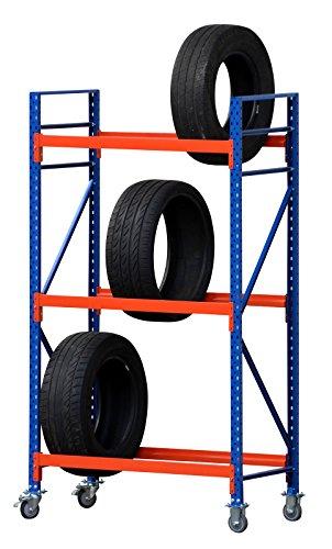Reifenwagen Reifenregal, 2m hoch, 3 Ebenen, verschiedene Breiten und Tiefen (230/60cm- B/T)
