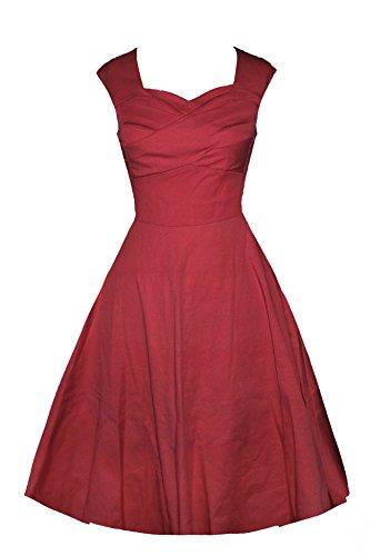 LUOUSE Audrey Hepburn Style Damen Vintage Rockabilly Swing Evening Kleid,WineRed,S