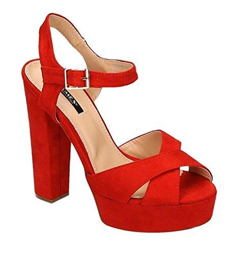 Damen Riemchen Abend Sandaletten High Heels Pumps Slingbacks Velours Peep Toes Party Schuhe Bequem 07 Rot