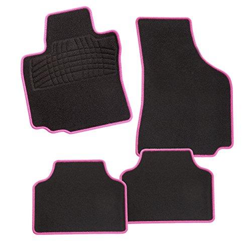 CarFashion 243339 Auto Fußmatte PINK-Edition, Schwarz/Rosa - Fiat 500 Fußmatte Autoteppich,