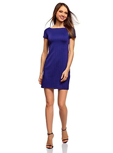 oodji Ultra Damen Kleid aus Strukturiertem Stoff mit U-Boot-Ausschnitt, Blau, DE 32 / EU 34 / XXS