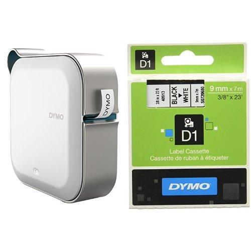 Dymo 1978243 MobileLabeler-Etikettendrucker mit Smartphone-Anbindung über Bluetooth + S0720680 D1-Etiketten (Selbstklebend, für den Drucker LabelManager, 9 mm x 7 m Rolle) schwarz auf weiß