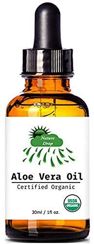 Nature Drop's USDA Organic Aloe Vera Oil - 1 oz - 100% pure, Vitamin C, E, B, allantoin, minerals, proteins, polysaccharides, enzymes, amino acids and beta-carotene.