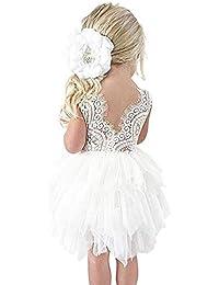 Vestido de Encaje con Lentejuelas de Niña Vestido de Fiesta Festido de Bautizo Vestido de Arco para Niña Ceremonia