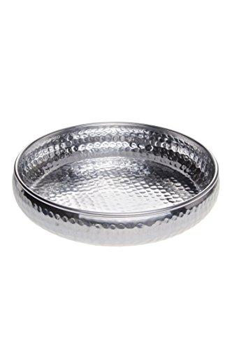 Orientalisches rundes Tablett Schale aus Metall Fidan 34cm groß Silber | Orient Dekoschale mit hoher Rand | Marokkanisches Serviertablett Rund | Orientalische Silberne Deko auf dem gedeckten Tisch