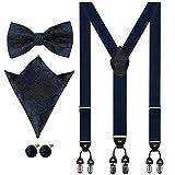 Aissy Hosenträger für Herren 3.5cm Y-Form Elastisch und Längenverstellbar Hosenträger Breit mit 6 starken Clips und Fliege & Einsteckuch,YG Blau