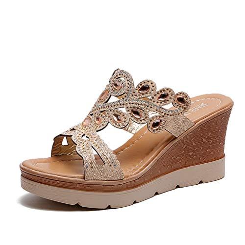 URIBAKY Femmes Dames Cristal De Bohême Coins Épais Peep Toe Sandals Pantoufles Chaussures