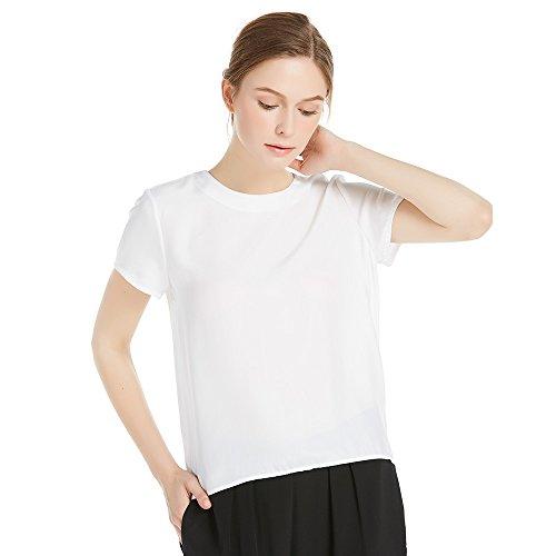 LILYSILK Seide Damen Hemdbluse Kurzarm Bluse Hemd Tunika 22 Momme Weiß S (Seide Aus S/s Bluse)