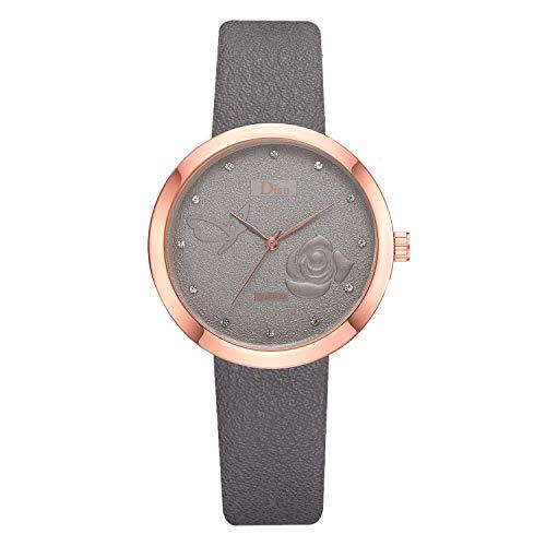 XZDCDJ Damen Uhr Armbanduhr Damenuhren Mode Beiläufige Trend Rose mit Diamant matt zifferblatt gürtel Damen quarzuhr A4 Grau