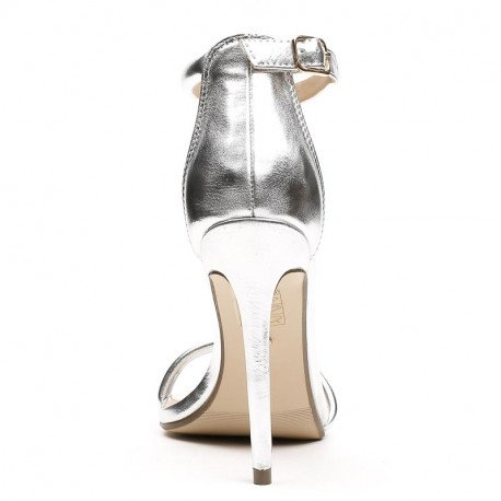 Ideal Shoes - Sandales à brides effet daim Helina Argent