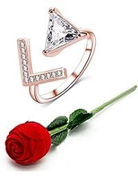 Jewels Galaxy Valentine Gift Elegant AD Sparkling White 18K Rose Gold Adjustable Ring With Fancy Velvet Rose Ring...