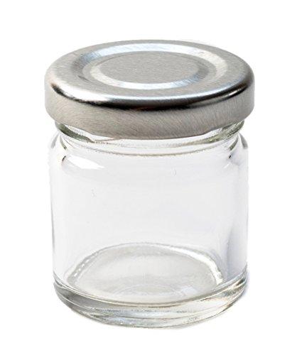 Nutley \'s Marmeladengläser, klein 42ml (Fassungsvermögen) Silber Deckel (50Stück), transparent, 20x 10x 25cm