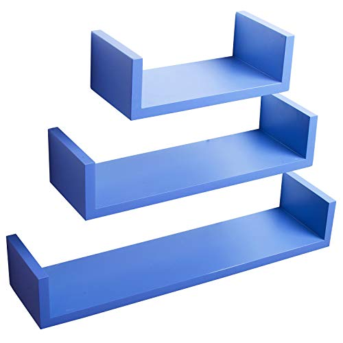 Woltu rg9239dbl mensole da muro mensola a cubo scaffale parete decorazione per cameretta salotto libreria cd legno mdf moderno 3 pezzi diametri diversi blu scuro