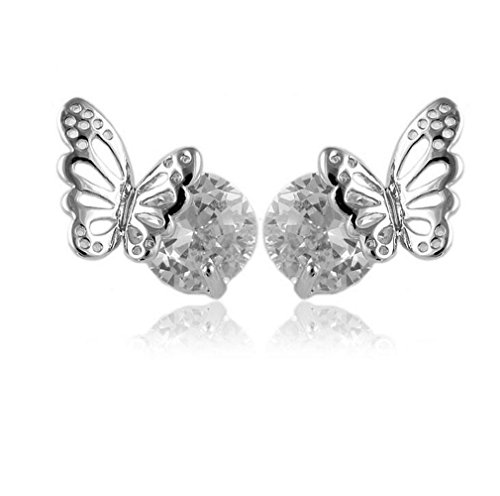 Wiftly Frauen Damen Ohrringe Einfache Stil Schmetterling mit Zirkon Kugel Ohrstecker (- Stil Doppel-kugel)